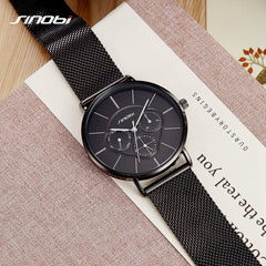 SINOBI Fashion Black Women's Watches Stainless Steel Mesh Band Casual Analog Quartz Wristwatch Dress Ladies Watch Montre Femme - Slabiti