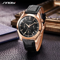 SINOBI Men Watches Rose Gold Business 2018 luxury brand Luminous Hands Black Dial High Quality Leisure Leather Strap Wrist Watch - Slabiti