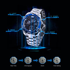 SINOBI Men Watches Top Brand Luxury Dual Display Digital Analog Fashion Casual Wirstwatch Steel Military Clock Relogio Masculino - Slabiti