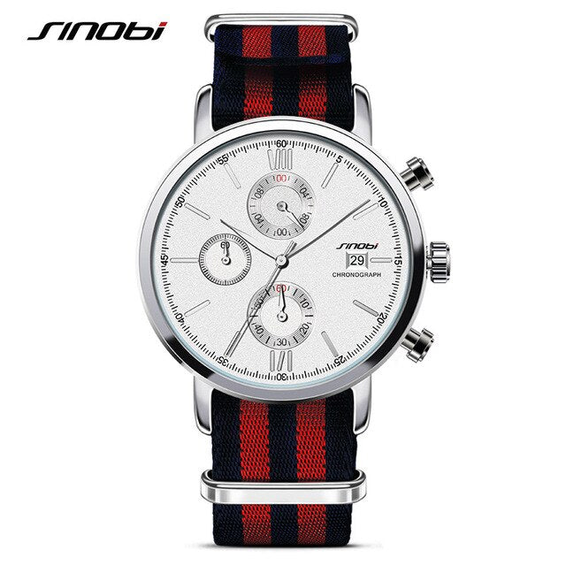SINOBI Men's Fashion Sport Watches NATO Fabric Canvas Nylon Strap Quartz Wristwatch James Bond 007 Style Clock Relogio Masculino - Slabiti