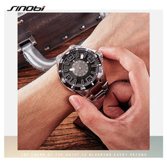 SINOBI New Men Watches Luminous Waterproof Top Luxury Brand 100% FULL Stainless Steel Males Quartz Wristwatch Relogio Masculino - Slabiti