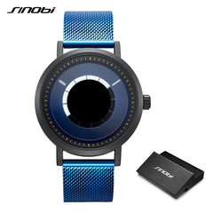 SINOBI New Unique Rotate Creative Watch Men Man Steel Mesh Band Quartz Wristwatches Sports Casual Blue Men Watches Reloj Hombre - Slabiti