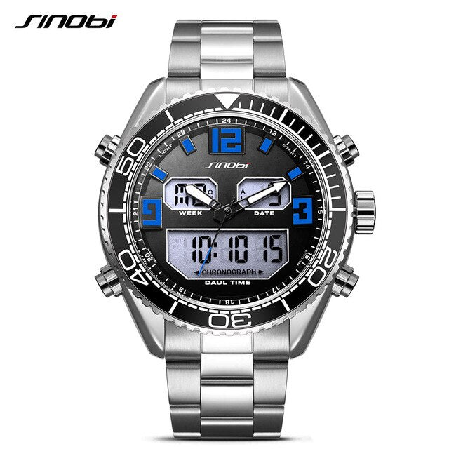 SINOBI Sport Fashion Watch Men Dual Display Analog Digital LED Back light 316 Steel Chronograph Quartz Wrist Watches Waterproof - Slabiti