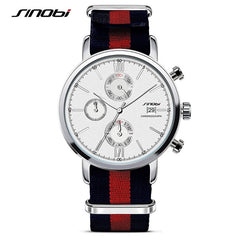 SINOBI Sports Chronograph Men Wrist Watches NATO Strap Nylon Watchband Luxury Military Males Geneva Quartz Clock James Bond 007 - Slabiti