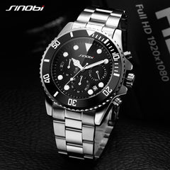SINOBI Stainless Steel Watch Men Black Rotatable Clock Fashion Business Saat Chronograph Quartz Watch Sports Relogio Masculino - Slabiti