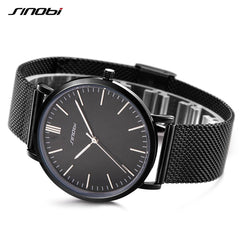SINOBI Top Brand Watches Men Quartz Sport Watch Watchcase Ultra Thin Business Watch Stainless Steel Mesh Belt Relogio Masculino - Slabiti