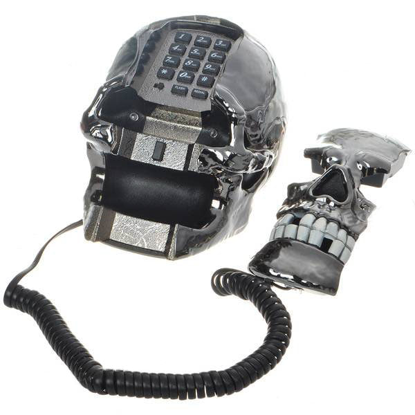 Unique Black Skull Skeleton Shaped Land Line Telephone