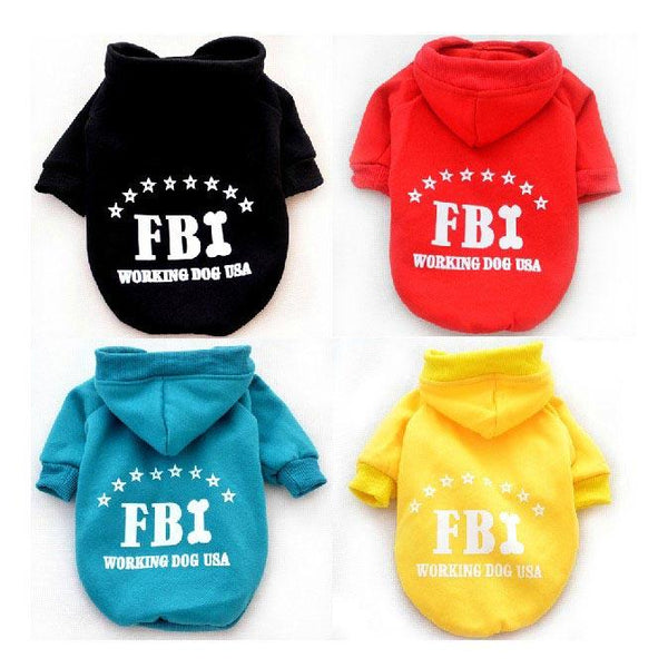 FBI Pet Dog Cat Cotton Hoodie Sweater Coat With Hat - Slabiti