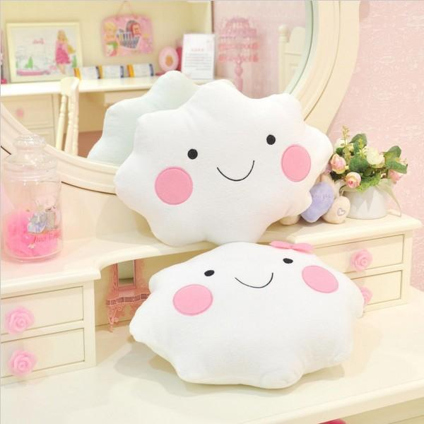 Cute Smile Bowknot Clouds Plush Pillow Cushion - Slabiti