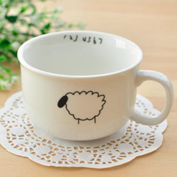 Small Raindrops Sheep Beard Bird Ceramic Coffee Cup - Slabiti
