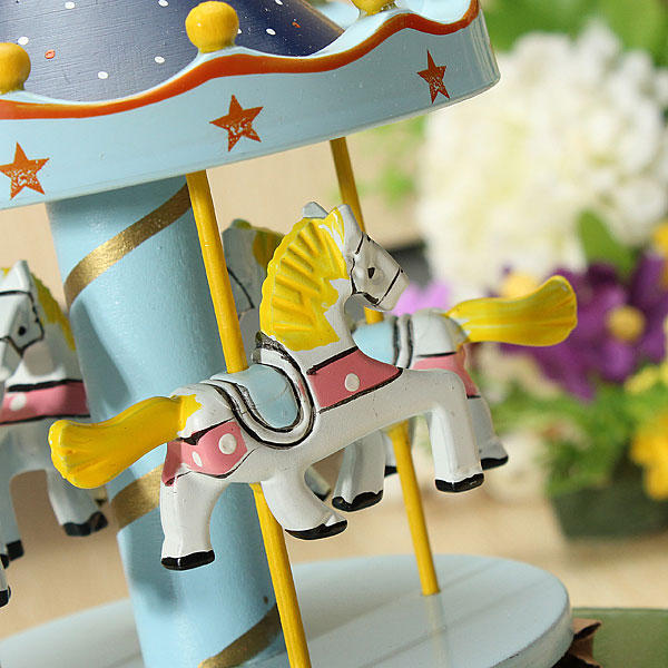 Kids Carousel Music Box Merry Go Round Musical Devolopment Toys Room Decor - Slabiti
