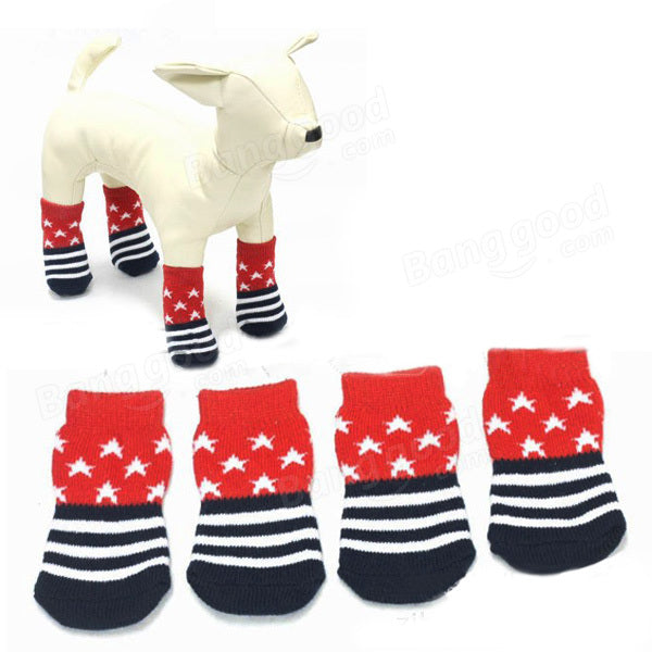 Star Pattern Blue And Red Anti-Slip Soft Cotton Knit Pet Socks - Slabiti