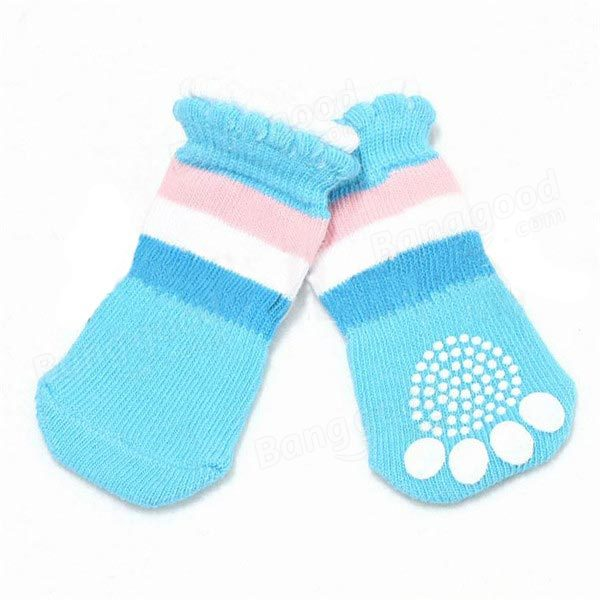 Cat Dog Boat Socks Pet Rickrack Colorful Stripe Pattern Cotton Anti-slip Socks - Slabiti