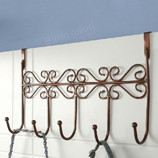 Euro Style Iron Art Back Door Hanger Hook With 5 Hook 3 Colors - Slabiti