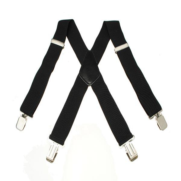 Mens Terylene 4 Clips High Stretch Elastic Black White Suspenders - Slabiti