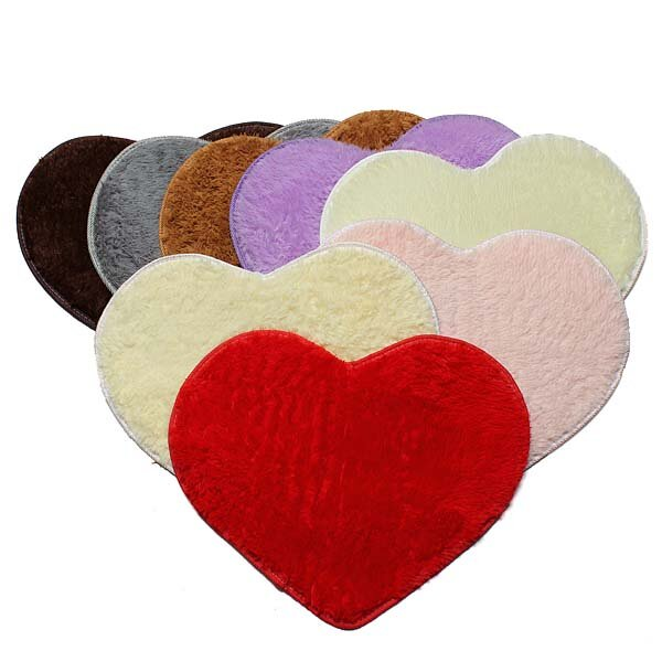 50x60cm Heart Shape Doormat Bathroom Bedroom Carpet - Slabiti