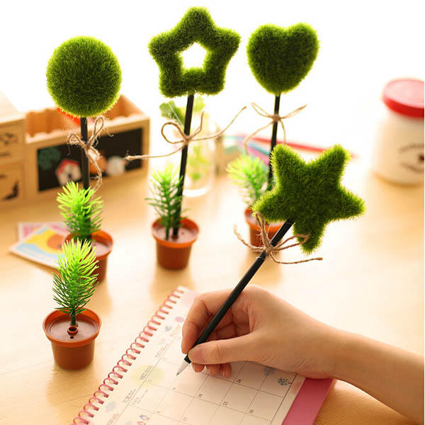 Lovely Green Plants Potted Shape Ballpoint Ball Pen - Slabiti