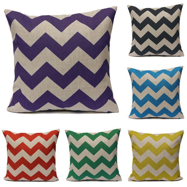 Waves Pattern Linen Pillowcases Home Decorate Sofa Cushions - Slabiti