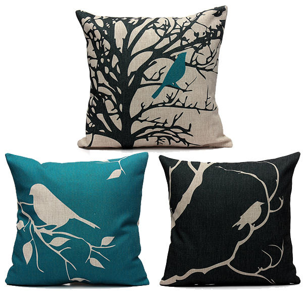 45X45CM Bird Vintage Linen Cotton Cushion Cover Decor Pillowcase - Slabiti