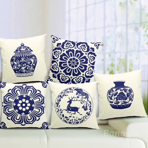 Chinoiserie Pillow Case Blue And White Porcelain Pillowcase - Slabiti