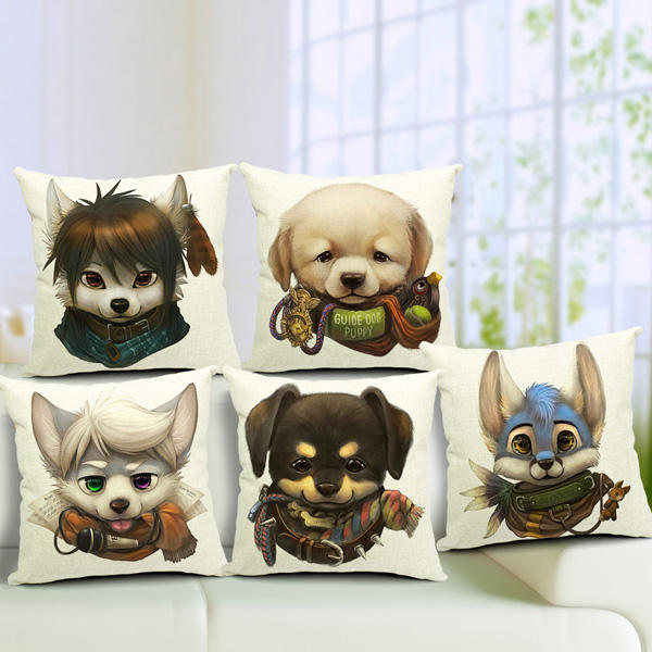 Cute Cartoon Dog Pillow Case Home Offcie Car Cushion Cover - Slabiti