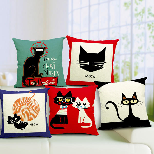 Cute Cartton Cat Print Pillow Case Cotton Linen Pillowcase - Slabiti