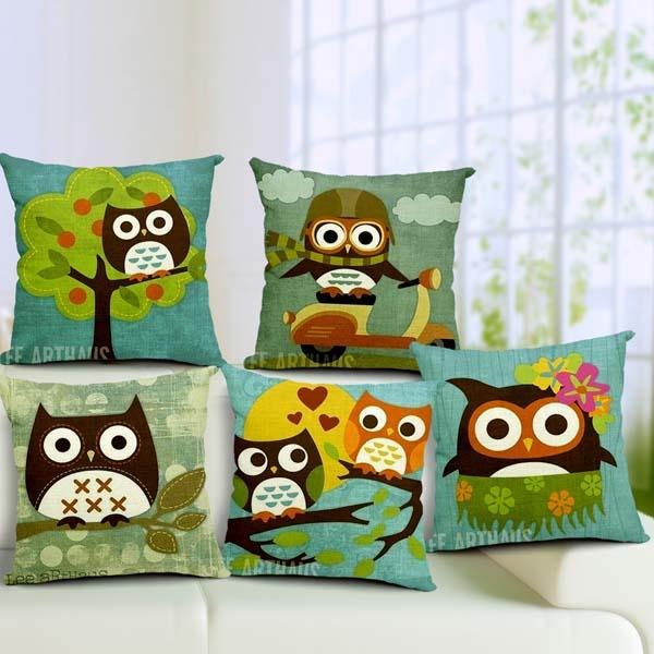 Cartoon Owl Print Pillow Case Home Office Car Cushion - Slabiti