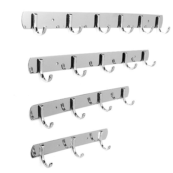 3/4/5/6 Hooks Wall Door Stainless Steel Kitchen Clothes Hook Hanger - Slabiti