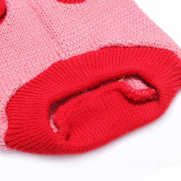 Red Heart Bone Pet Dog Knitted Breathable Sweater Pink - Slabiti