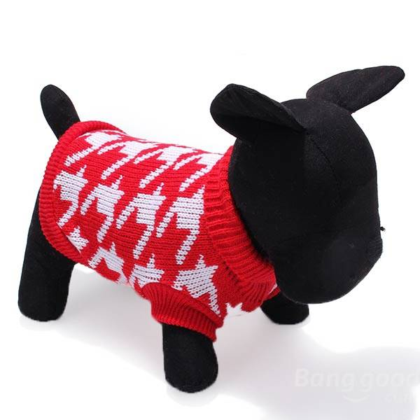 Pet Dog Knitted Breathable Sweater Outwear Apparel Red Black - Slabiti