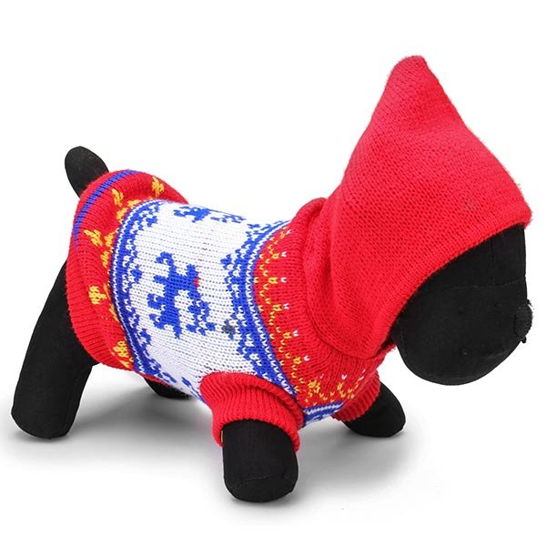 Deer Pet Dog Knitted Breathable Sweater Outwear Winter Blue Red - Slabiti