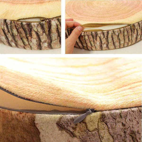 3D Novelty Stump Log Wood Throw Pillow Sycamore Tree Cushion Home Office Car Soft Decor - Slabiti