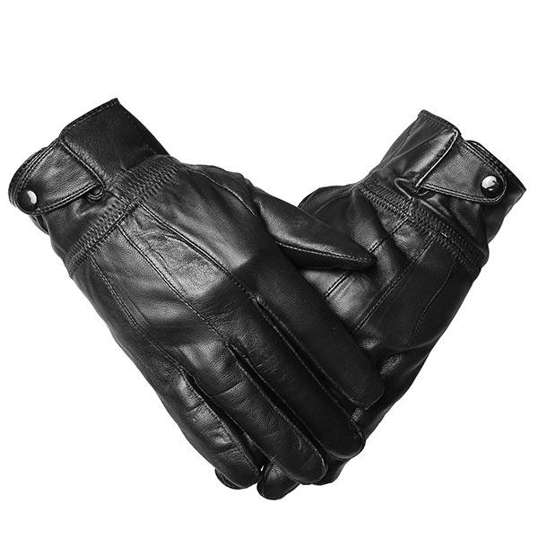 Men Sheepskin Leather  Driving Gloves Buckles Cycling Windproof Velvet  Linen Mittens - Slabiti