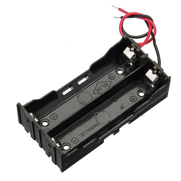 5pcs DIY DC 7.4V 2 Slot Double Series 18650 Battery Holder Battery Box With 2 Leads