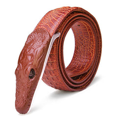 125CM Mens Leather  Polyvinyl Chloride Alligator Alloy Adjustable Belt - Slabiti