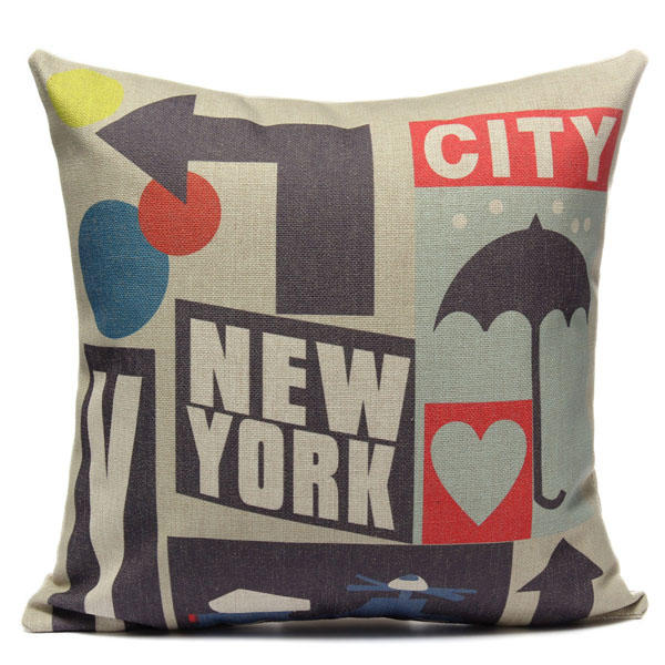 Cotton Linen New York City Pillow Case Sofa Bed Car Seat Pillowcase - Slabiti