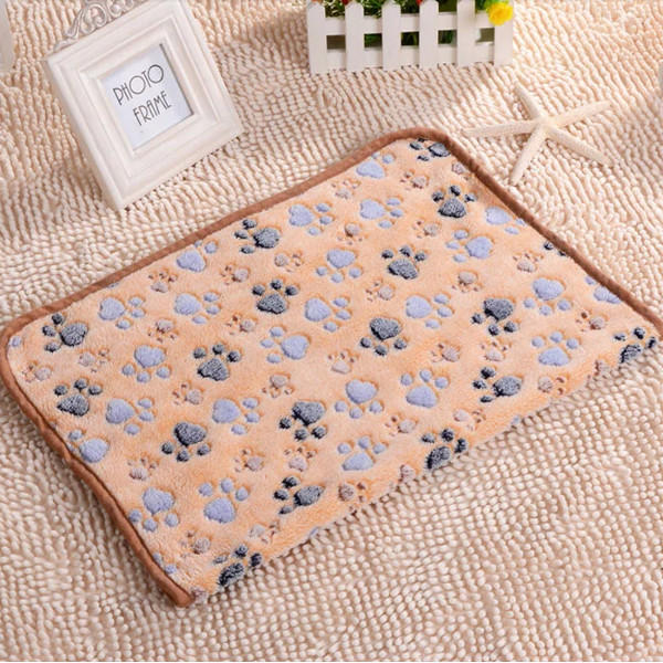 Pet Paw Print Dog Puppy Cat Soft Fleece Blanket Bed Mat Winter - Slabiti
