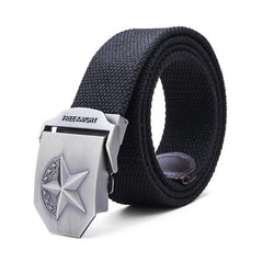 140CM Men's Belt Extended Thickening Canvas Weaving Buckle Strip - Slabiti