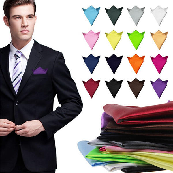 2pcs Satin Silk Men Suit Pocket Square Handkerchief Banquet Wedding Hanky - Slabiti
