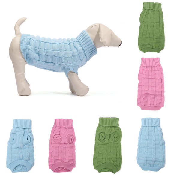 Solid Color Pet Dog Cat Knitted Breathable Warm Sweater Winter Outwear - Slabiti