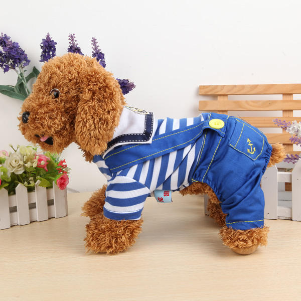 Pets Dogs Naval Uniform Navy Sailor Suit Stripe Pattern Overalls Clothes - Slabiti