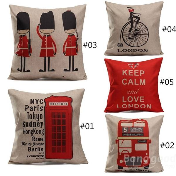 British Style Printed Pillows Cases Home Bedroom Sofa Decor Cushion Cover - Slabiti