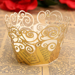 12pcs 7 Colors Filigree Cup Cake Wrappers Wrap Case Wedding Birthday Party Supplies - Slabiti