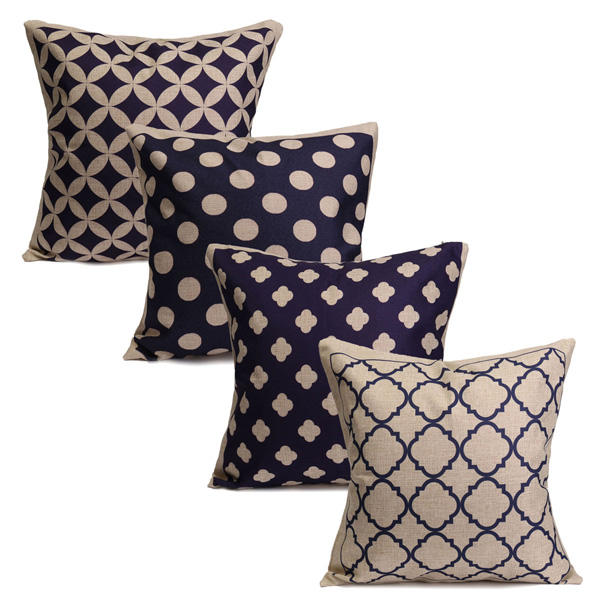 Blue Geometric Cotton Linen Pillow Cases Waist Cushion Cover Home Sofa Decor - Slabiti