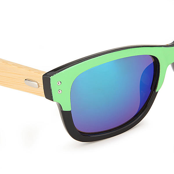 UV400 Unisex Bamboo Legs Rivet Sunglasses Mirror Color Frame Wooden Eyewear Glasses - Slabiti