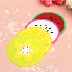 Silicone Fruit Shade Round Coasters Skidproof Cup Mat Table Decoration - Slabiti