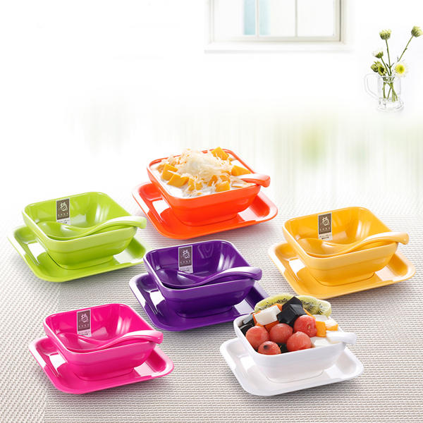 Colorful Melamine Tableware Solid Dessert Dish Dessert Bowl Spoon Suit - Slabiti