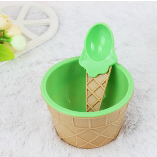 Plastic Children Ice Cream Waffle Cone Bowls Spoons Cups Set Creative Bar Tools Freezer Accessories - Slabiti