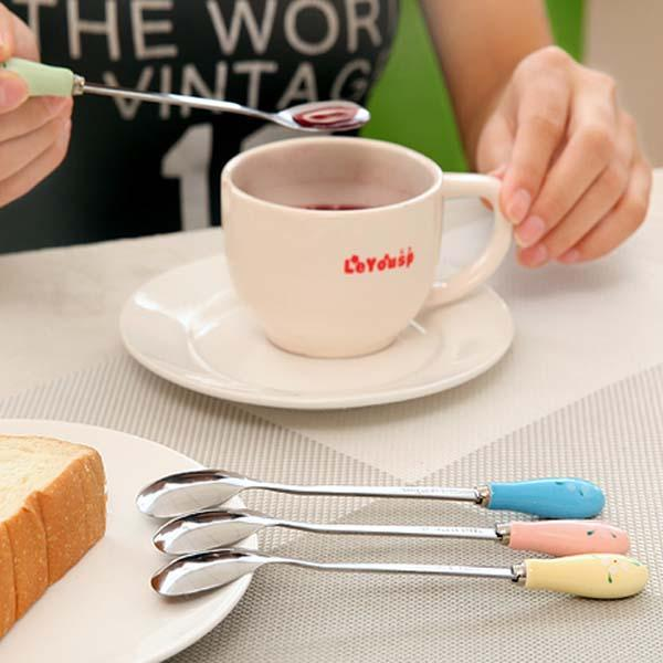 Ceramic Handle Floral Coffee Spoon Stainless Steel Small Milk Spoon Tableware - Slabiti