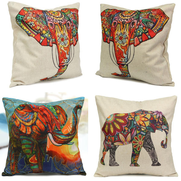 Vintage Elephant Cotton Throw Pillow Case Waist Cushion Cover Home Sofa Car Decor - Slabiti